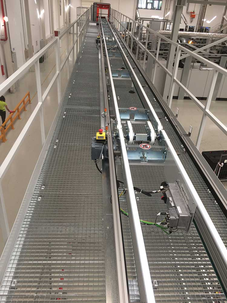 Timing belt conveyor Rinsing room with transport section and drives