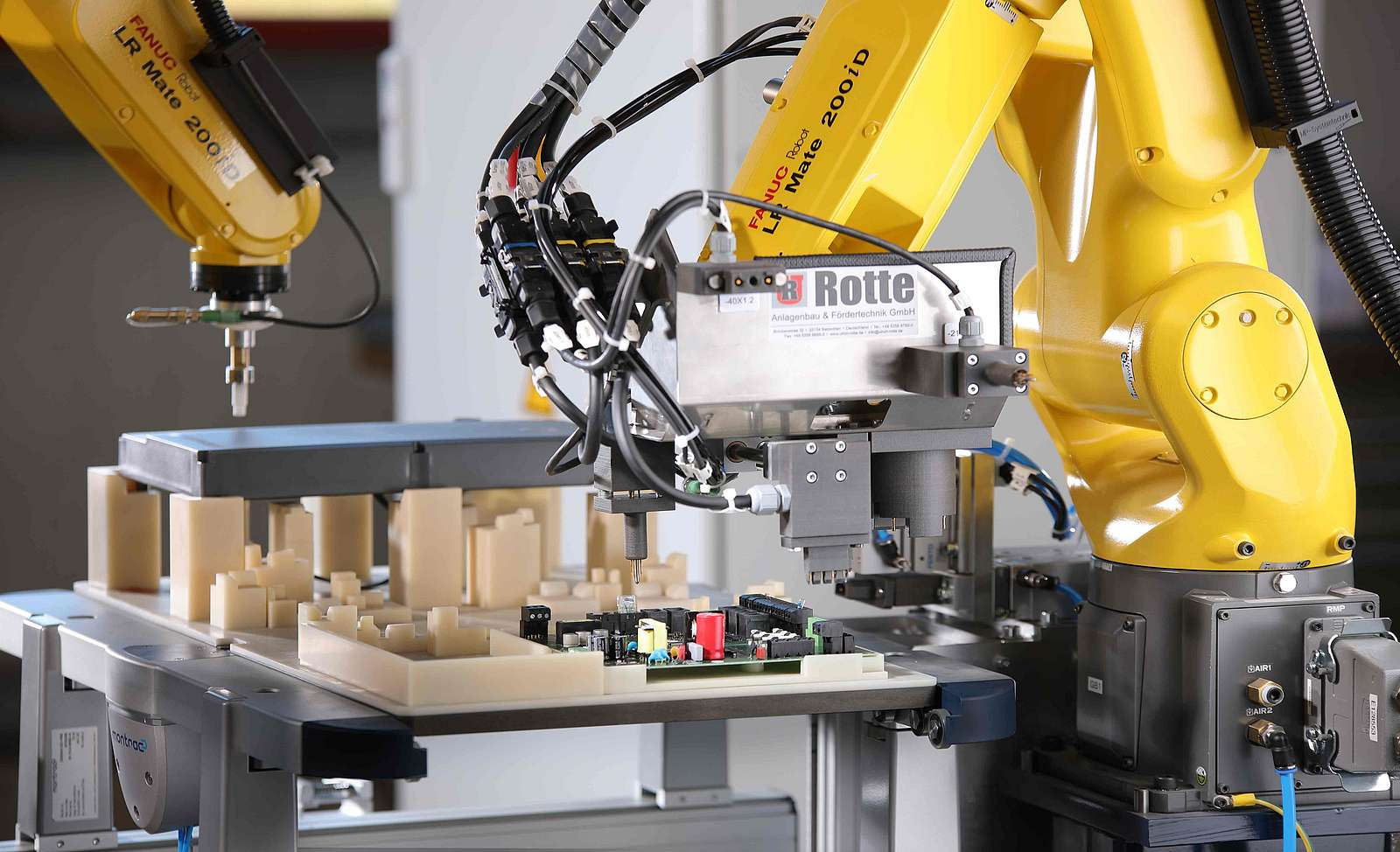 Automated testing with touch finger and force measurement on industrial robots